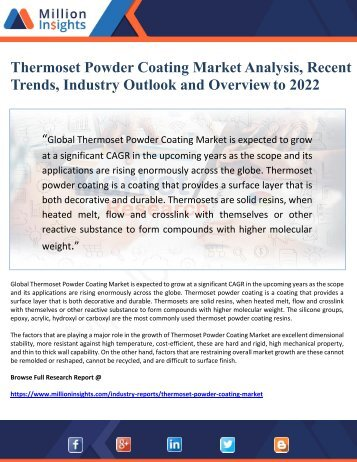 Thermoset Powder Coating Market Analysis, Recent Trends, Industry Outlook and Overview to 2022