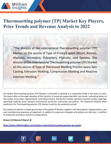 Thermosetting polymer [TP] Market Key Players,  Price Trends and Revenue Analysis to 2022