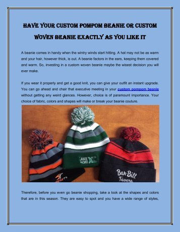 Have Your Custom Pompom Beanie Or Custom Woven Beanie Exactly As You Like It