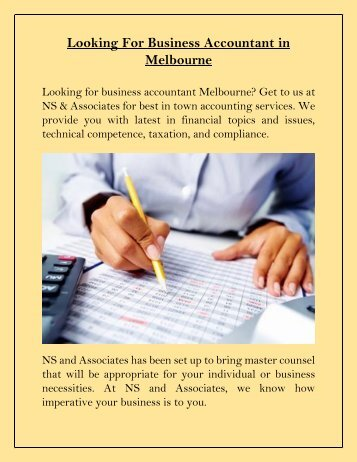 Looking For Business Accountant in Melbourne