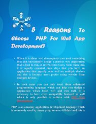 5 Reasons To Choose  PHP For Web App Development