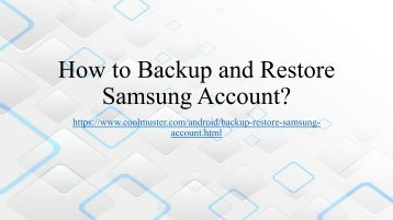 How to Backup and Restore Samsung Account