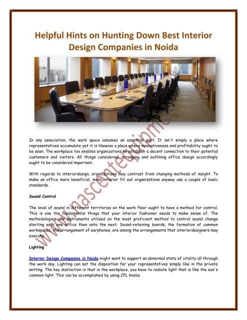 Helpful Hints On Hunting Down Best Interior Design Companies In Noida