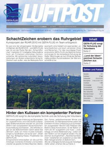 SchachtZeichen erobern das Ruhrgebiet - Gefa-Flug