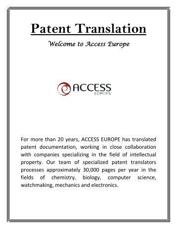 Patent Translation - Access Europe