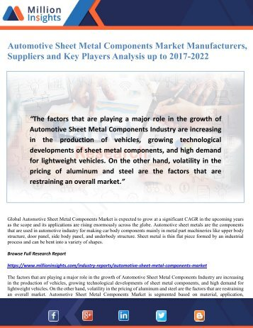 Automotive Sheet Metal Components Market Manufacturers, Suppliers and Key Players Analysis up to 2017-2022