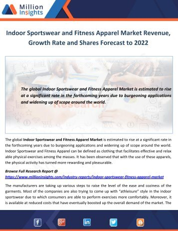 Indoor Sportswear and Fitness Apparel Market Revenue, Growth Rate and Shares Forecast to 2022