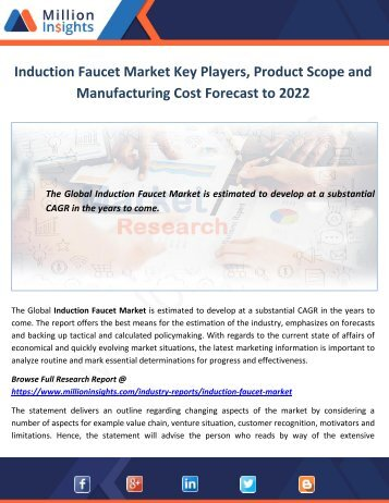 Induction Faucet Market Key Players, Product Scope and Manufacturing Cost Forecast to 2022