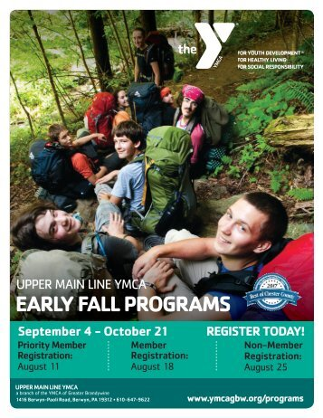 Upper Main Line YMCA - Early Fall Program Guide 2018