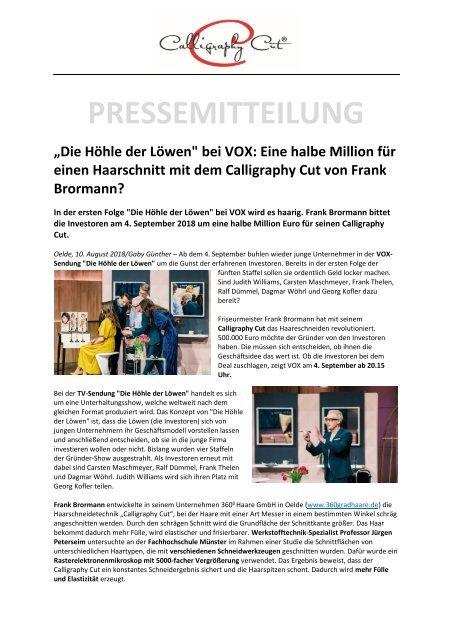 Pressemitteilung Die Höhle Der Löwencalligraphy