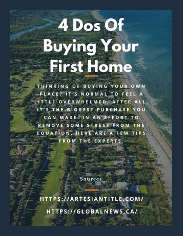 4 Dos Of Buying Your First Home