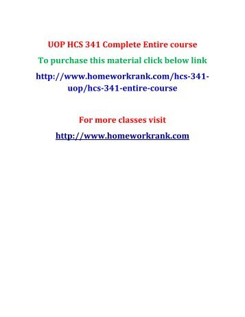 UOP HCS 341 Complete Entire course