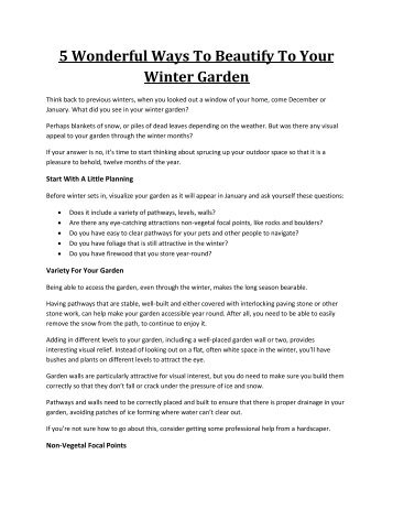 5 Wonderful Ways To Beautify To Your Winter Garden