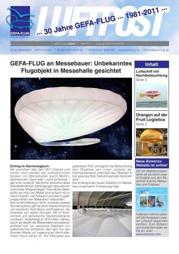 Unbekanntes Flugobjekt in Messehalle gesichtet - Gefa-Flug