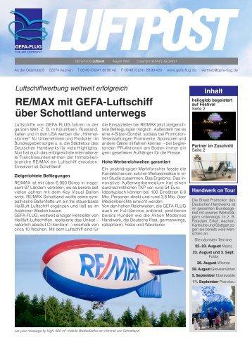 Luftschiffwerbung weltweit erfolgreich RE/MAX mit GEFA ... - Gefa-Flug