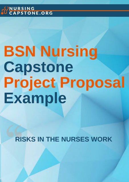 BSN Nursing Capstone Project Proposal Example
