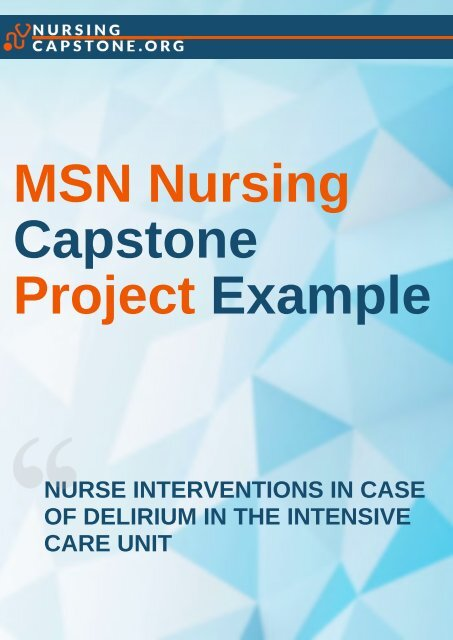MSN Nursing Capstone Project Examples