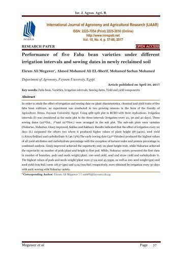 Performance of five Faba bean varieties under different irrigation intervals and sowing dates in newly reclaimed soil
