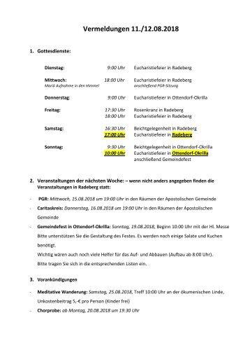 Vermeldungen für KW33/18