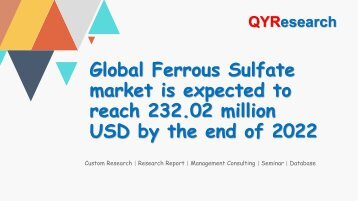 Global Ferrous Sulfate market is expected to reach 232.02 million USD by the end of 2022