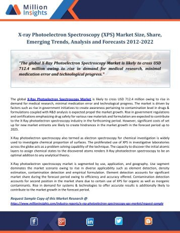 X-ray Photoelectron Spectroscopy (XPS) Market Size, Share, Emerging Trends, Analysis and Forecasts 2012-2022