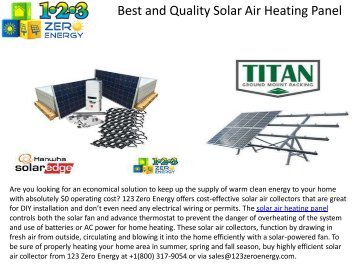Best and Quality Solar Air Heating Panel