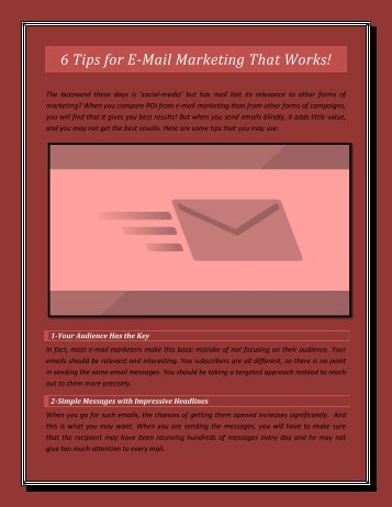 6 Tips for E-Mail Marketing That Works