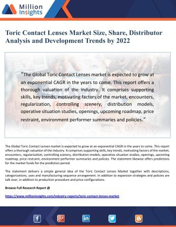Toric Contact Lenses Market Size, Share, Distributor Analysis and Development Trends by 2022