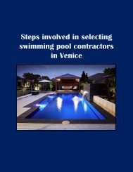 Steps involved in selecting swimming pool contractors in Venice