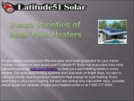 Install Varieties of Solar Pool Heaters