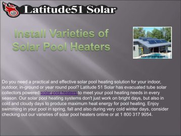 Install Varieties of Solar Pool Heaters