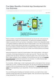 Five Major Benefits of Android App Development for Your Business