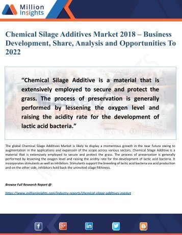 Chemical Silage Additives Market Potential Growth, Share, Demand