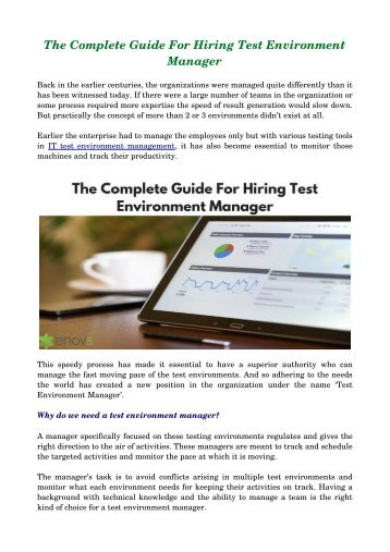 The Complete Guide For Hiring Test Environment Manager