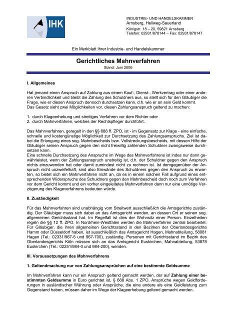 Gerichtliches Mahnverfahren Ihk Arnsberg Hellweg Sauerland