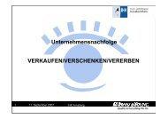 VERKAUFEN/VERSCHENKEN/VERERBEN Unternehmensnachfolge