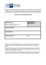 Ausbildungsplan - IHK Arnsberg