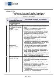 Ausbildungsrahmenplan für die Berufsausbildung zum ...