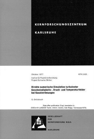 Note after publication: Engl. translation in DOE-tr-61 (USDOE Techn ...