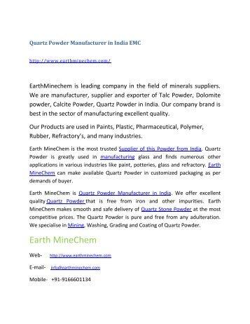 Quartz Powder Manufacturer in India EMC