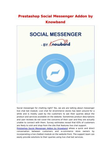 Engage your customers with online chat support | Social Messenger Addon by Knowband