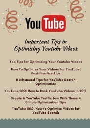 Important Tips in Optimising Youtube Videos