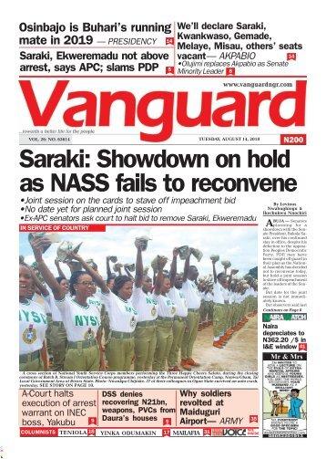 14082018 - Saraki: Showdown on hold as NASS fails to reconvene