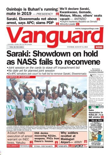14082018 - Saraki: Showdown on hold as NASS fails to reconvene