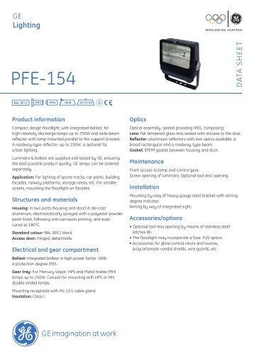 PFE-154 Outdoor Luminaires - Data sheet - GE Lighting