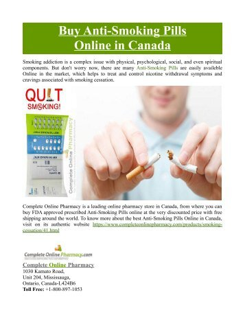 Buy Anti-Smoking Pills Online in Canada