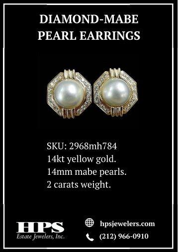 Diamond-Mabe Pearl Earrings by HPS Jewelers