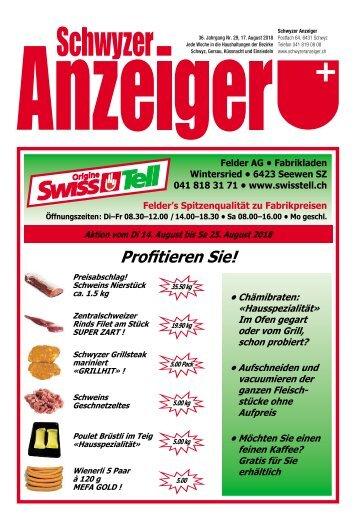 Schwyzer Anzeiger – Woche 33 – 17. August 2018