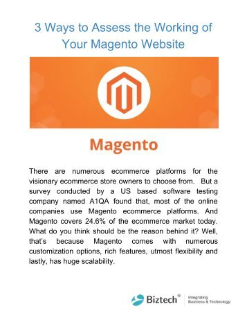 3 Ways to Assess the Working of Your Magento Website