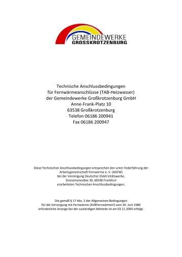 Technische Anschlussbedingungen für Fernwärmeanschlüsse (TAB ...